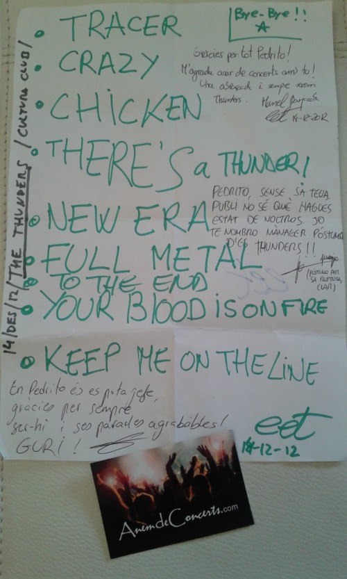 Setlist concert acomiadament The Thunders al Cultura Club_14des12
