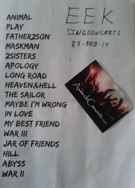 Setlist concert Eek Singloncerts_27feb14