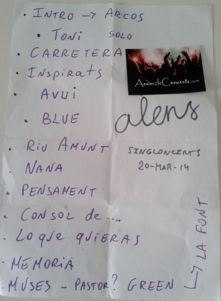 Setlist concert Alens 20mar14