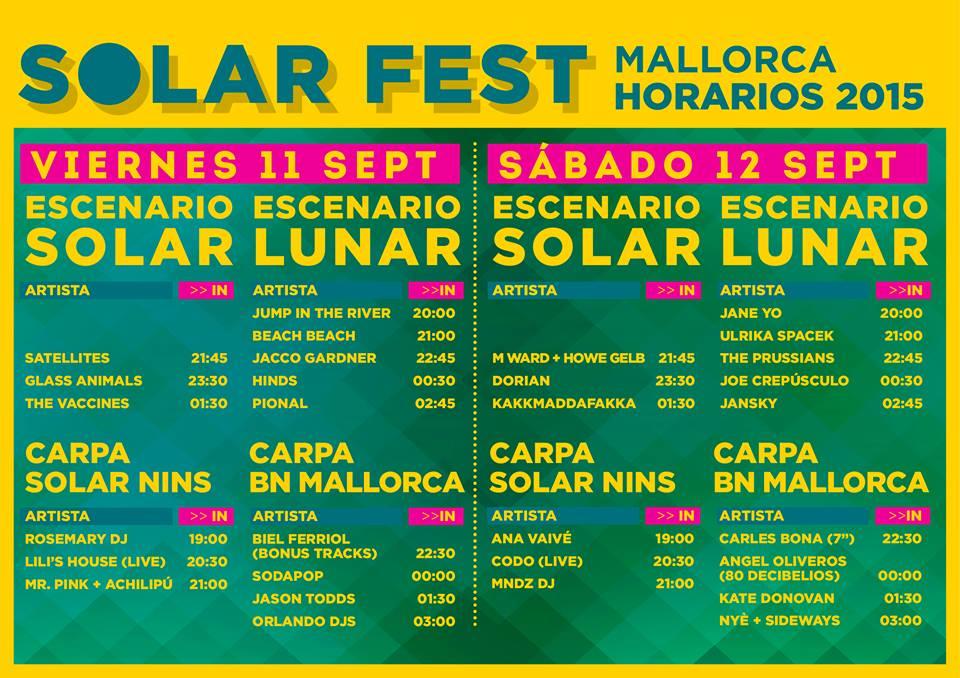 HORARIS SOLAR FEST 2015